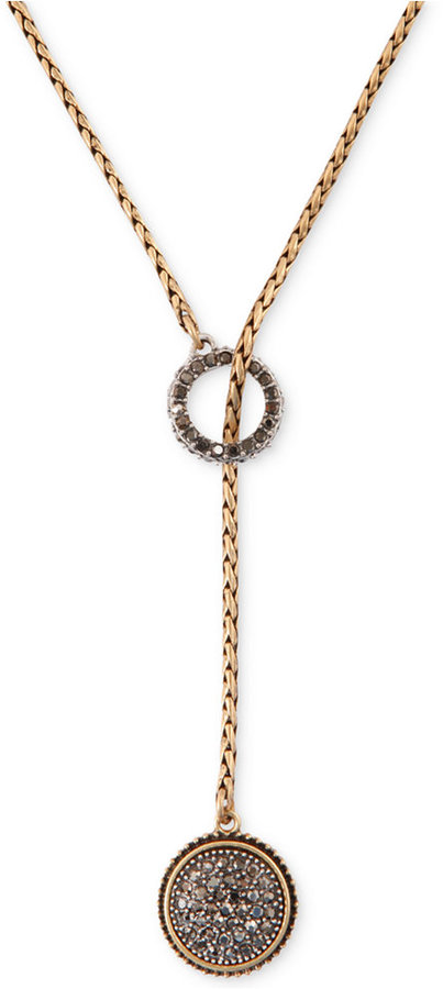 Lucky Brand Two-Tone Pavé Lariat Necklace