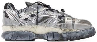 Maison Margiela Fusion Distressed Leather And Mesh Trainers - Mens - Silver