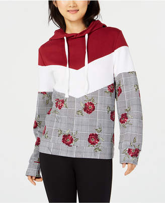 Ultra Flirt by Ikeddi Juniors' Colorblocked Printed Pullover Hoodie