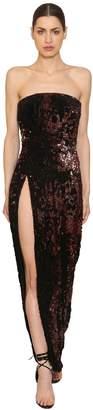 Strapless Sequined Velvet Long Dress