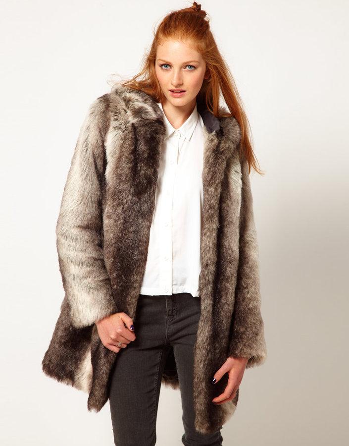 River Island Maxi Faux Fur Coat With Hood