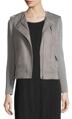 Misook Faux-Suede Moto Jacket w/ Contrast Sleeves