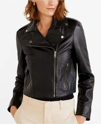 MANGO Lapelled Leather Biker Jacket