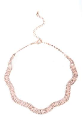 Quiz Rose Gold Diamante Wave Necklace