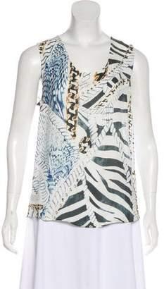 Pierre Balmain Silk Printed Sleeveless Top