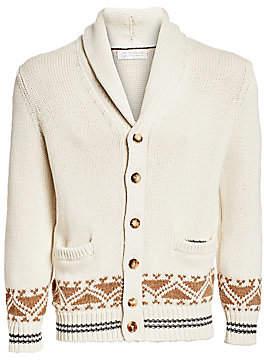 Brunello Cucinelli Men's Fairisle Wool-Blend Cardigan Sweater