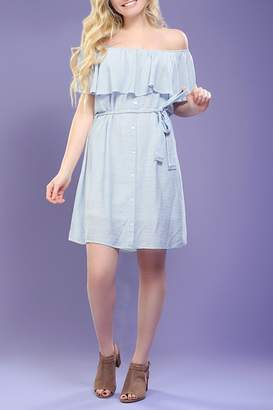 Paper Crane Off-Shoulder Striped Dress