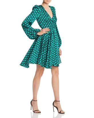 Milly Siena Dot Print Twill Wrap Dress