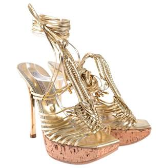 Gianmarco Lorenzi Gold Leather Sandals