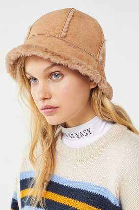 Urban Outfitters Sherpa + Suede Bucket Hat