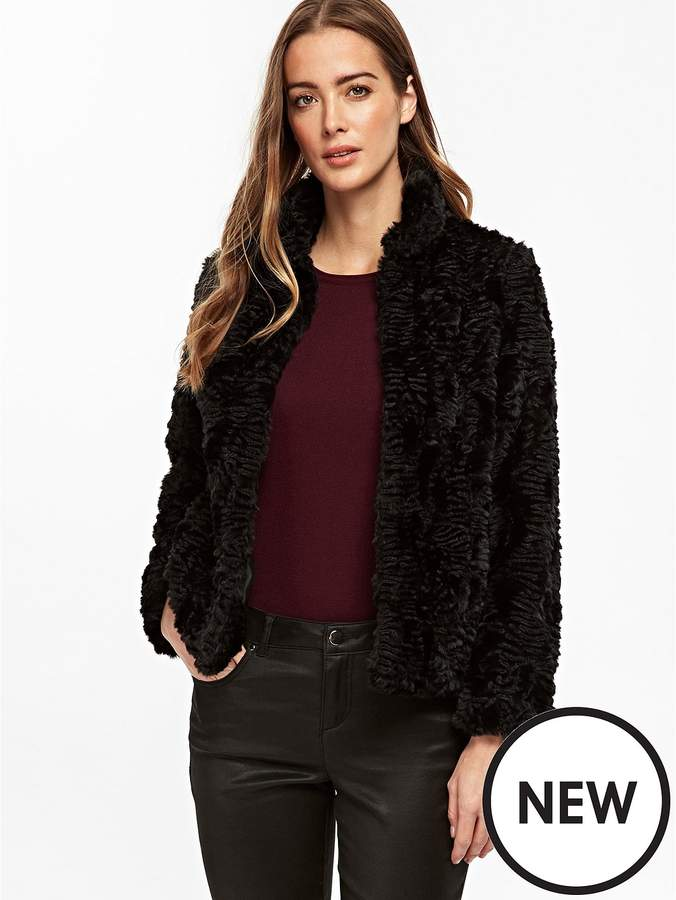 Crushed Faux Fur Short Jacket - Black