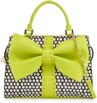 Betsey Johnson Curtsy Dotted Bow Satchel Bag, Citron $95 thestylecure.com