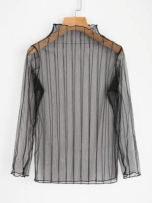 Shein Vertical Striped Sheer Mesh Top