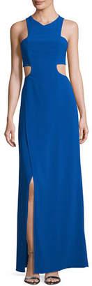Halston Sleeveless Cutout Stretch Crepe Column Gown