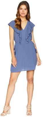 1 STATE 1.STATE V-Neck Ruffle Edge Dress with Ties Women's Dress