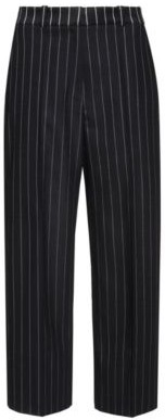 Cropped wide-leg pants in pinstripe fabric