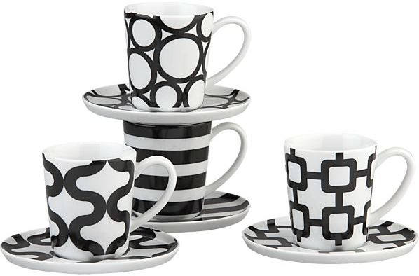 Crate & Barrel Set of 4 Graphic Espresso Cups and Saucers