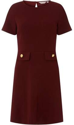 Dorothy Perkins Womens Petite Wine Fit and Flare Dress