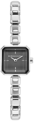 BCBGMAXAZRIA Ladies Stainless Steel Bracelet Watch with Black Square Dial, 20MM