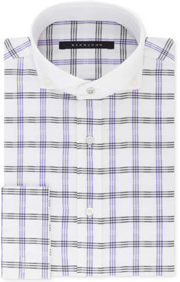 Sean John Men's Classic/Regular Fit Grey & Purple Check French Cuff Dress Shirt