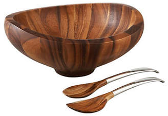 Nambe Butterfly Wooden Salad Bowl Of Acacia Wood With Servers