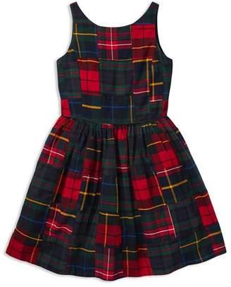 Ralph Lauren Girls' Cotton Patchwork Plaid Dress - Big Kid