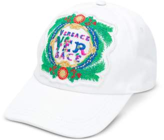 Versace White Cotton Unisex Baseball Cap w/Beverly Palm Embroidery