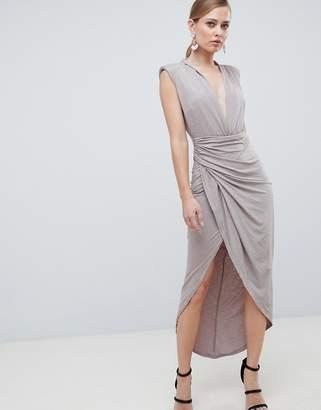 Forever Unique SlinkyHigh Leg Deep Plunge Midi Dress