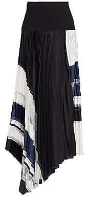 3.1 Phillip Lim Women's Asymmetric Pleated Colorblock Skirt - Size 0