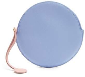 Roksanda Round Pebbled Leather Pouch - Womens - Light Blue