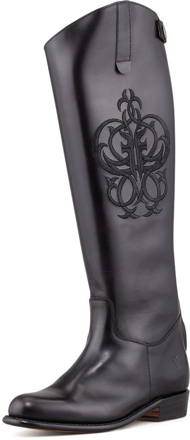 Frye Polished Embroidered Riding Boot, Black