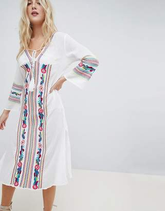 Liquorish Liqourish Heavy Embroidered Beach Dress