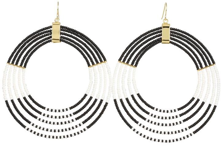 Noir BW Masai Oval Tonal Hoop Earrings (Black/White) - Jewelry