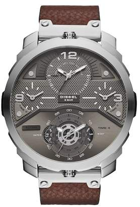 Diesel Men's Machinus Chronograph Leather Strap Watch, 55mm