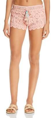 Surf Gypsy Dusty Rose Crochet Swim Cover-Up Shorts