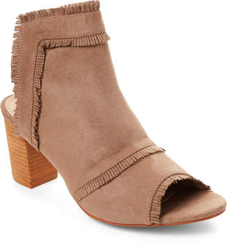 Gc Shoes Taupe Polka Frayed Peep Toe Booties