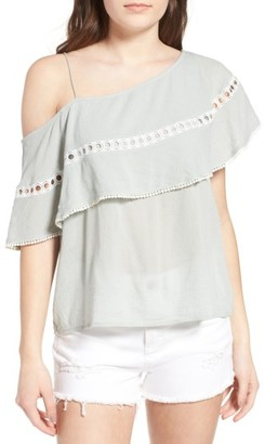 Women's Sun & Shadow One-Shoulder Ruffle Top $49 thestylecure.com