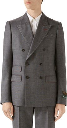 Gucci Stitch Detail Wool Sharkskin Jacket