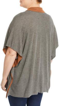 Bobeau Plus Cardi Liya Double-Face Short-Sleeve Cardigan, Plus Size
