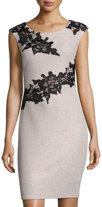 JAX Floral-Appliqué Sheath Dress $119 thestylecure.com
