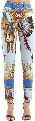 Versace Native American Print Cotton Denim Jeans