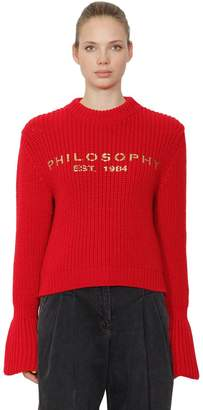 Philosophy di Lorenzo Serafini Logo Printed Virgin Wool Knit Sweater