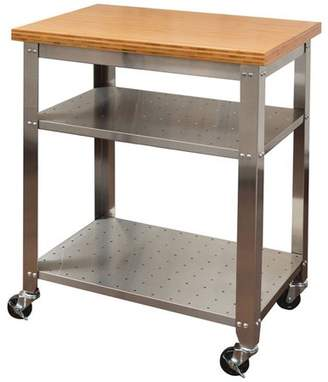 Seville Classics Stainless Steel Kitchen Work Table Kitchen Cart with Bamboo Top