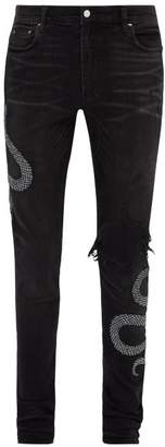 Amiri Snake Embroidered Distressed Skinny Jeans - Mens - Black