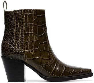 Ganni brown Callie 70 crocodile-effect leather ankle boots