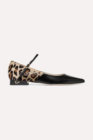 Jennifer Chamandi - Lorenzo Leopard-print Calf Hair And Leather Point-toe Flats - Leopard print