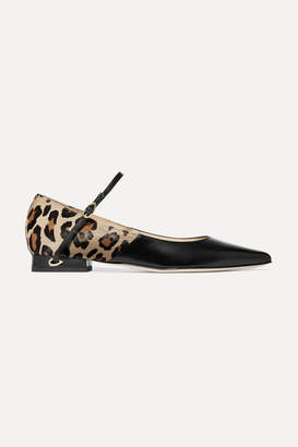 Jennifer Chamandi - Lorenzo Leopard-print Calf Hair And Leather Point-toe Flats - Leopard print