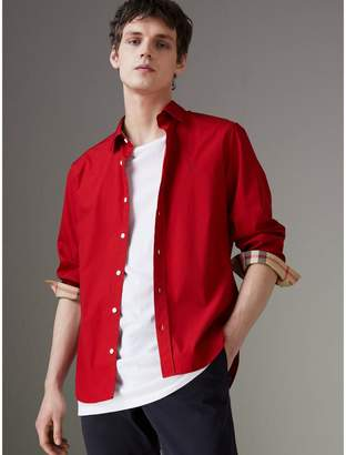 Burberry Check Detail Stretch Cotton Poplin Shirt , Size: M, Red