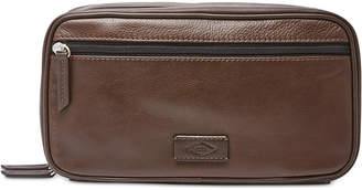 Fossil Men's Leather Double Zip Travel Toiletry Shave Kit