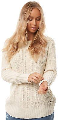 O'Neill New Women's Womens Cloudbreak Crew Knit Cotton Natural